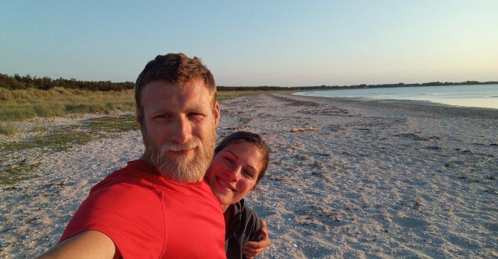 Heureux de trouver notre 1er bivouac sur la plage (Ängelholm)