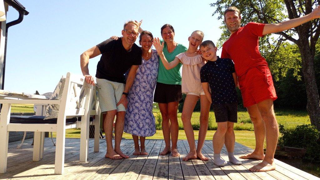 Notre famille suédoise préférée : Sébastien, Thérèse, Elise et Téo (non loin de Båstad)